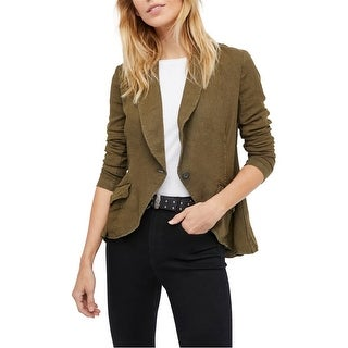 Link to Free People Womens Linen Blazer Jacket, green, X-Small Similar Items in Women's Outerwear