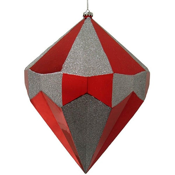 "Giant 18"" Merlot & Silver Diamond Commercial Christmas Ornament Decoration"