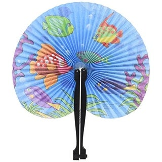 """12 Tropical Fish Luau Folding Fans Approx. 9.5"""" Paper with Plastic Handles"""
