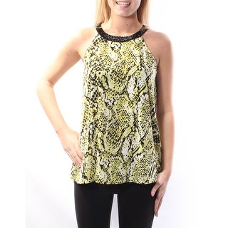 Womens Black, Yellow Animal Print Sleeveless Halter Top Size 4