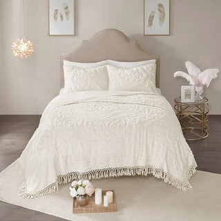 Link to Madison Park Virginia Tufted Cotton Chenille Medallion Fringe Coverlet Set Similar Items in Quilts & Coverlets