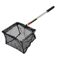 Unique Bargains 16.5  x 6  Portable Handle Landing Net Fishing Fish Angler Mesh Fish Goldfish Shrimp Black Sliver Tone