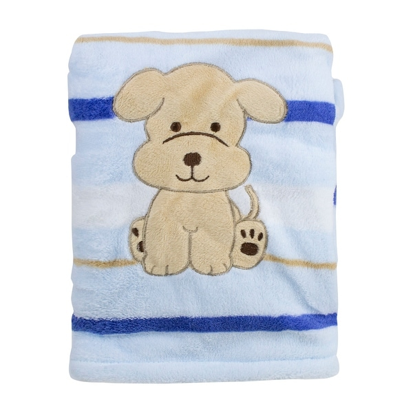 Snugly Baby Blue Fleece Baby Blanket w/ Embroidered Puppy - 30.0 in. x 40.0 in.