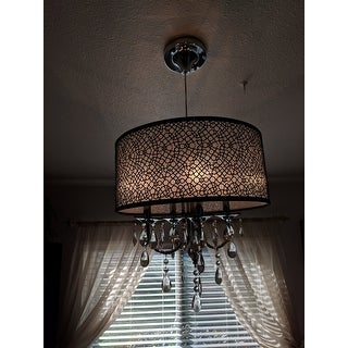 Bubble Shade Crystal And Chrome Flushmount Chandelier