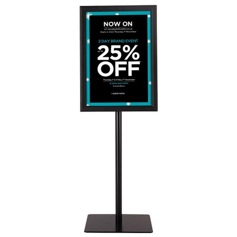 Gymax Adjustable Pedestal Poster Stand Aluminum Sign Holder 11 x 17 Inches Graphics