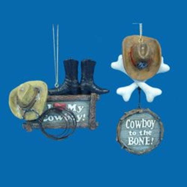 "5.25"" Wild West ""Cowboy to the BONE!"" Country Christmas Ornament - brown"
