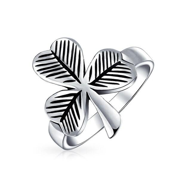 2c35e6fe1f42 Saint Patricks Day Irish Trinity Shamrock Lucky Clover Leaf Antiqued Oxidized  925 Sterling Silver Band Ring