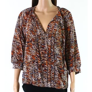 Joie NEW Orange Women's Size XS Split-Neck Abstract Print Blouse