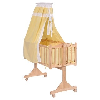 Costway Wood Baby Cradle Rocking Crib Newborn Bassinet Bed Sleeper Portable Nursery Yellow