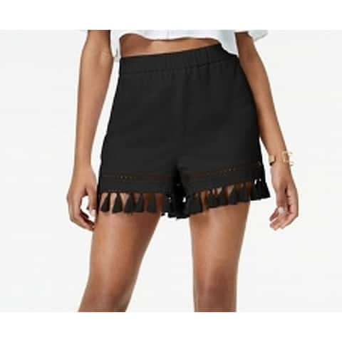 XOXO Black Size Small S Junior Tassel Hem Pull-On Casual Shorts