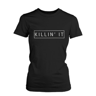 Killin' It Funny Graphic Shirt Trendy Black T-shirt Cute Short Sleeve Tee (Option: L)
