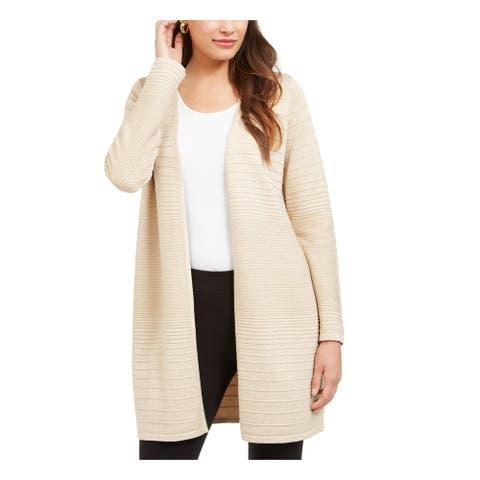 ALFANI Womens Beige Long Sleeve Open Cardigan Sweater Size L