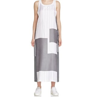 DKNY NEW White Gray Women's Size Large L Printed Maxi Silk Dress