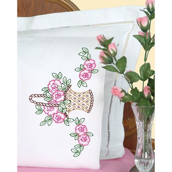 Stamped Pillowcases W/White Perle Edge 2/Pkg-Basket Of Flowers - White