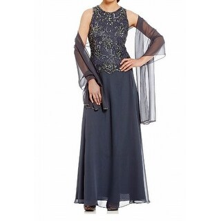 Jkara NEW Gray Womens 10P Petite Embellished 2PC Shawl Sheath Dress
