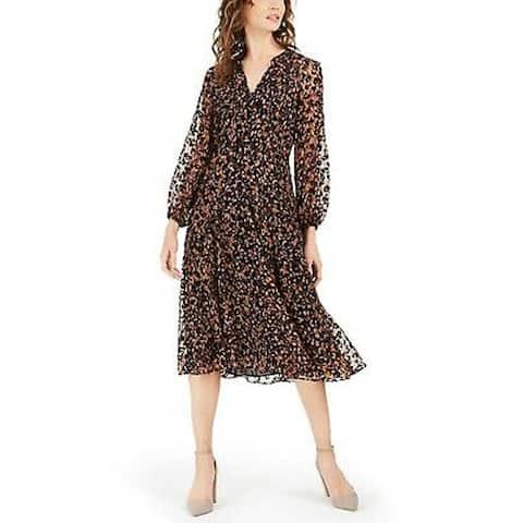 Tommy Hilfiger Women's Flocked Midi Dress, Brown, 14
