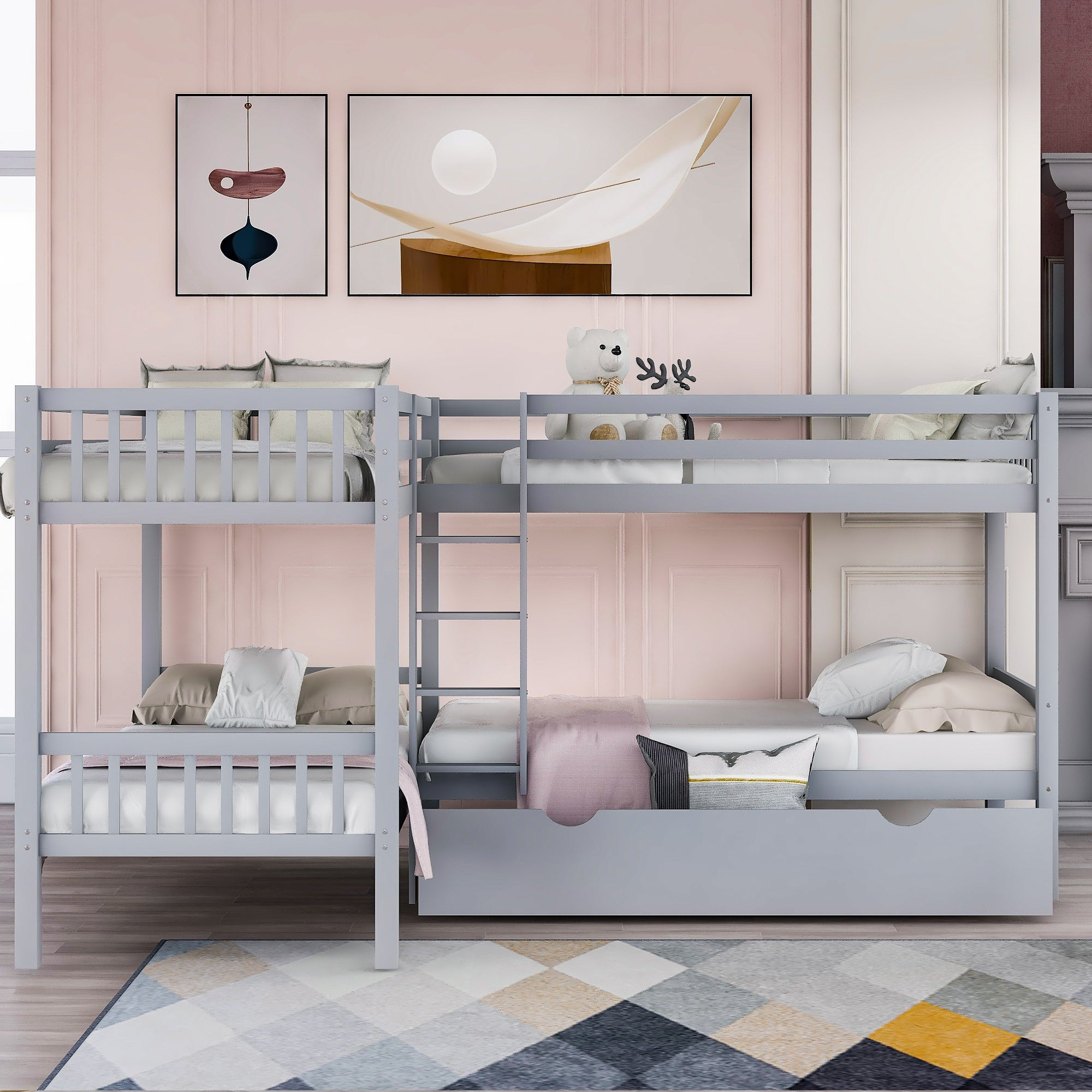 Twin L Shaped Bunk Bed With Drawers On Sale Overstock 32731348