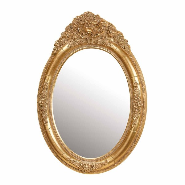 Shop Antique Vanity Mirror Gold Oval Wood Frame Free Shipping