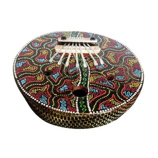 Elaborately Dot Painted Natural Coconut Karimba Mbira Thumb Piano