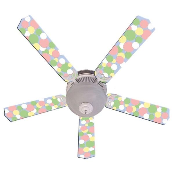 Pastel Dot Print Blades 52in Ceiling Fan Light Kit - Multi