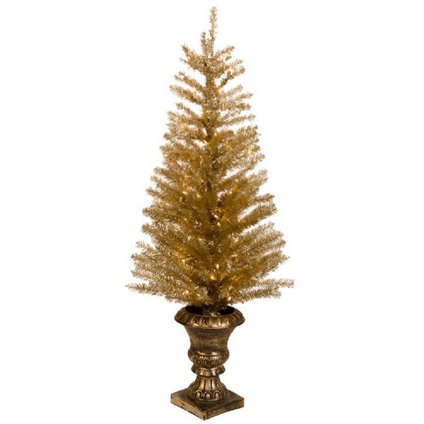 """48"""" Pre-lit Potted Gold Gilded Artificial Christmas Tree - Clear LED Lights"""