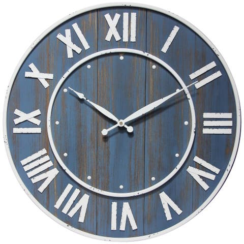 Wine Barrel Blue 23 inch Rustic Wooden Decorative Wall Clock