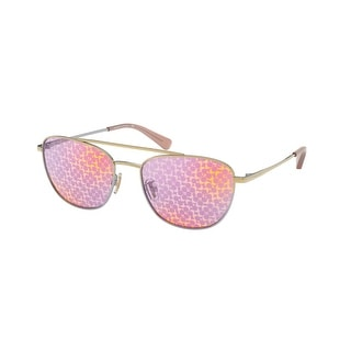 Link to Coach HC7107 9338AL 55 Shiny Rose Gold/silver Woman Rectangle Sunglasses - Pink / Silver Similar Items in Women's Sunglasses