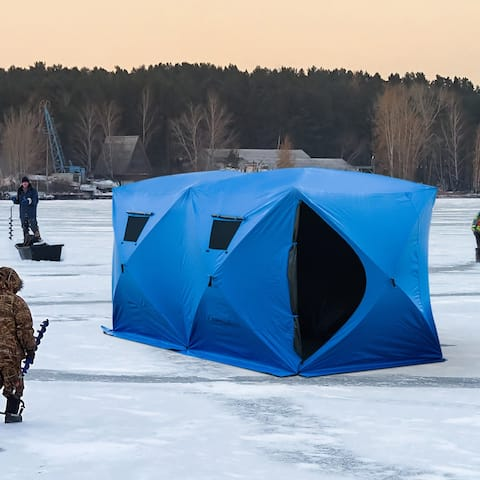 Outsunny 8 Person Pop-Up Portable Ice Fishing Shelter