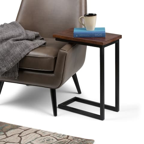 WYNDENHALL Rhonda SOLID MANGO WOOD and Metal 18 inch Wide Rectangle Industrial C Side Table, Fully Assembled