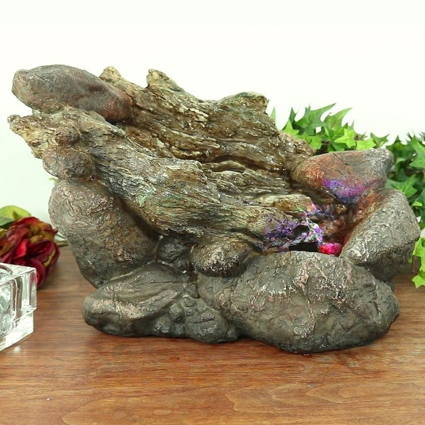 Sunnydaze Log & Stone Tabletop Water Fountain with LED Lights 8.5 Inch Tall