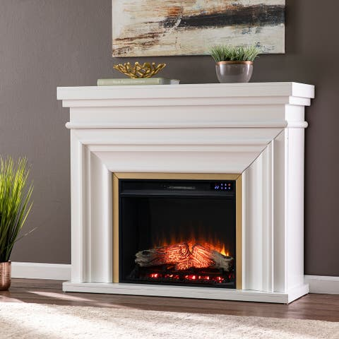Copper Grove Bellanca Transitional White Wood Electric Fireplace