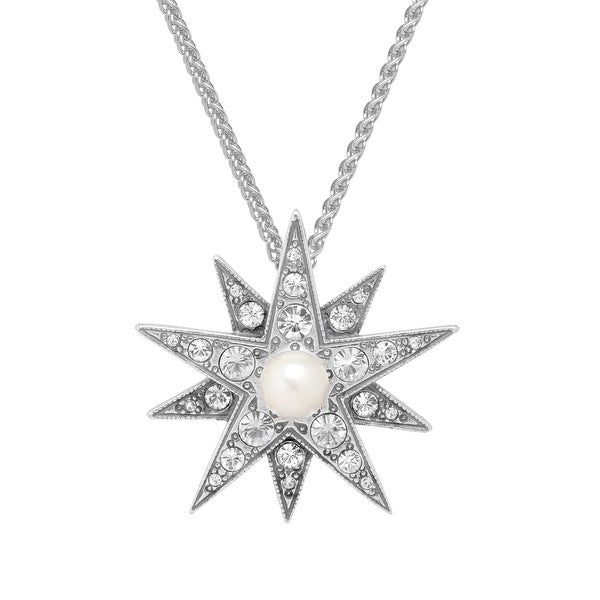 Van Kempen Victorian Simulated Pearl Star Pendant with Swarovski Crystals in Sterling Silver