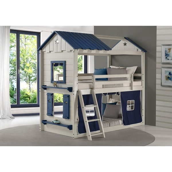Star Gaze Grey and Blue Twin-over-Twin Bunk Bed with Blue Tent. Opens flyout.