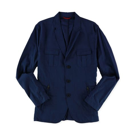 Sons of Intrigue Mens Casual Three Button Blazer Jacket, blue, Large