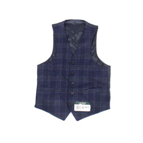 Lauren by Ralph Lauren Mens Vest Blue Size Small S Plaid Print Wool