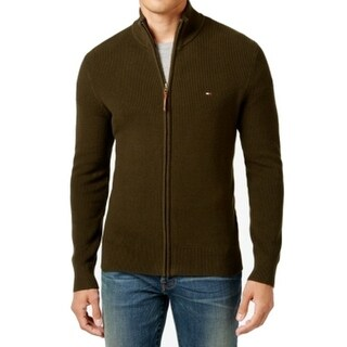 Tommy Hilfiger NEW Olive Green Mens Size XL Mock Neck Full Zip Sweater