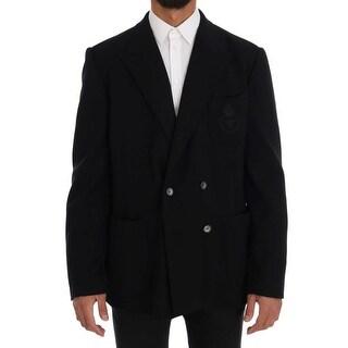 Dolce & Gabbana Dolce & Gabbana Black Double Breasted Wool Blazer - it54-xl