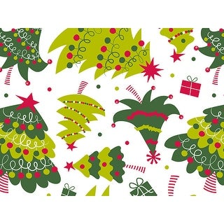 """Pack Of 1, Jolly Christmas Trees 24"""" x 417' Roll Christmas Premium Gift Wrap Papers For 175 -200 Gifts"""