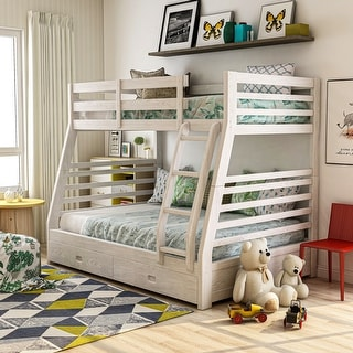 Furniture of America Cude Modern Twin/Full Solid Wood Bunk Bed Set