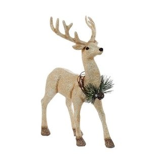 "12"" Gold Glitter Reindeer with Frosted Pine Wreath Table Top Decoration"