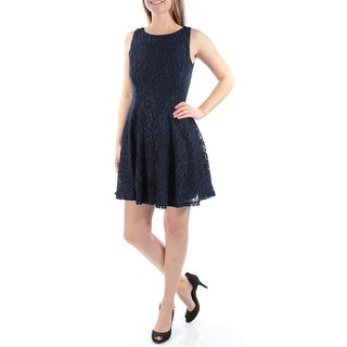 Womens Navy Sleeveless Above The Knee Fit + Flare Party Dress Size: 9
