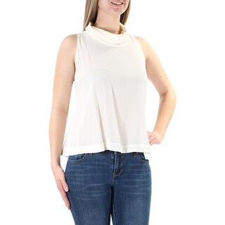 Womens Ivory Sleeveless Cowl Neck Casual Top Size S