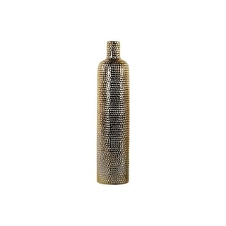 Ceramic Bottle Shaped Vase With Dimpled Pattern, Large, Gold