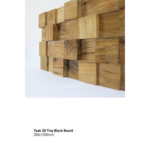 TEAK TINY BLOCK Wall Paneling, 100% reclaimed teak, 15.50 sq. feet per box, FREE shipping FSC, Carb2 compliant, LEED points