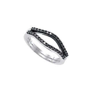 10kt White Gold Womens Round Black Colored Diamond Ring Guard Wrap Solitaire Enhancer 1/3 Cttw