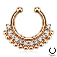 Paved Gem Fan Rose Gold IP Non-Piercing Fake Septum Ring (Sold Individually)