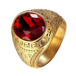 Red Dome Stone 18k Gold Tone Stainless Steel Mens Ring Greek Medusa Style