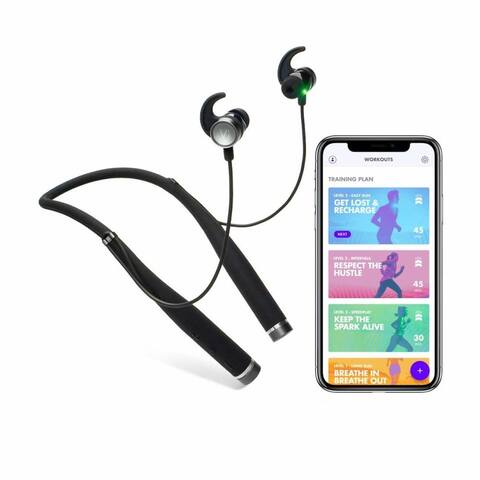 LifeBEAM Vi Sense Wireless Headphones with AI Personal Trainer. Vi's Human-Sounding Voice Coaches You - Black