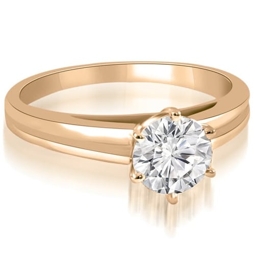 0.75 cttw. 14K Rose Gold 6-Prong Solitaire Round Cut Diamond Engagement Ring
