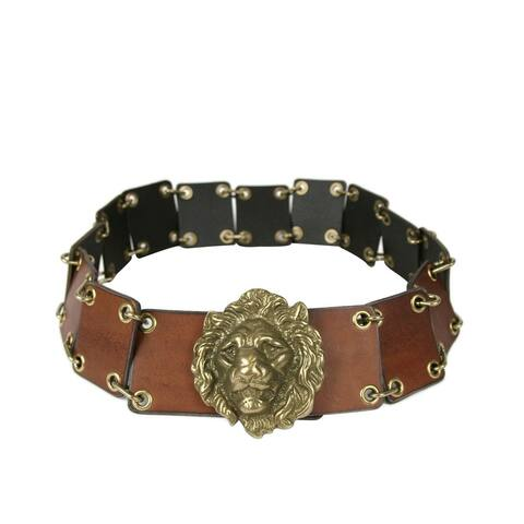 Saint Laurent Men's Rustic Brown Leather Eyelet Chain Buckle Belt 440835 2048